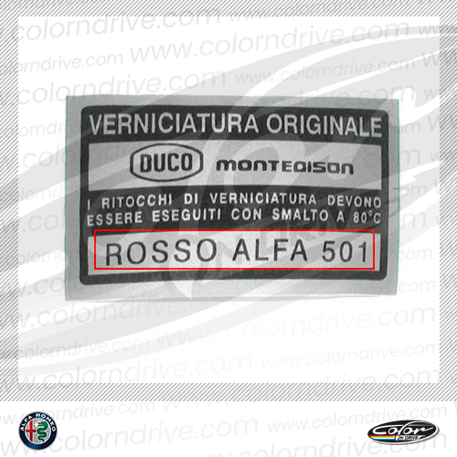 Alfa Romeo Paint Code Label