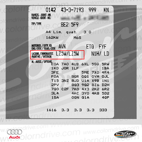 Audi Paint Code Label