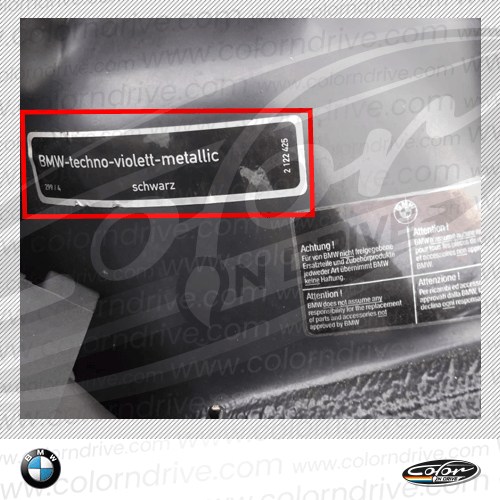 BMW Paint Code Label Sample