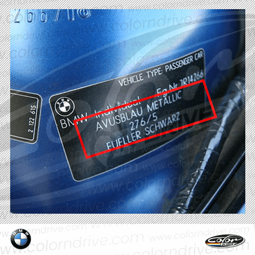 BMW Paint Code Label