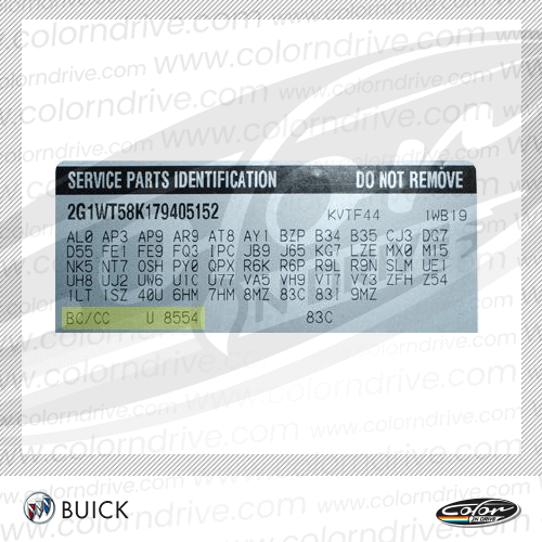 Buick Paint Code Label