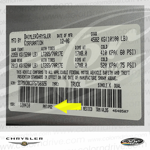 Chrysler Paint Code Label