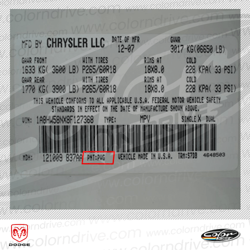 Dodge Paint Code Label