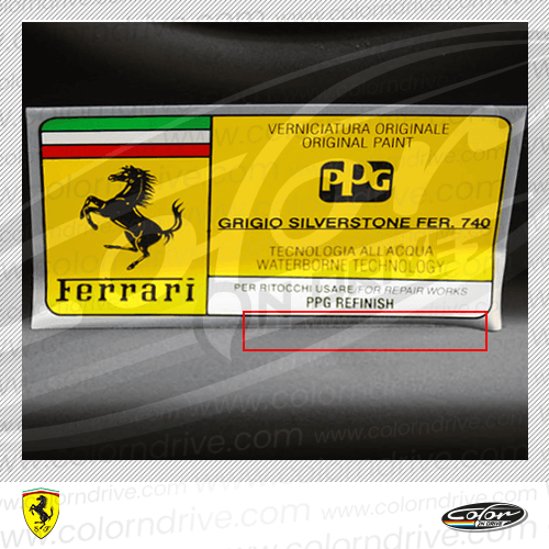 Ferrari Paint Code Label