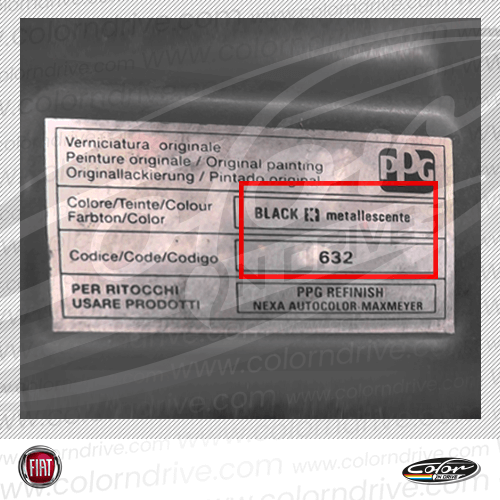 Fiat Paint Code Label
