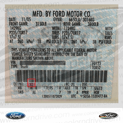 Ford America Paint Code Label