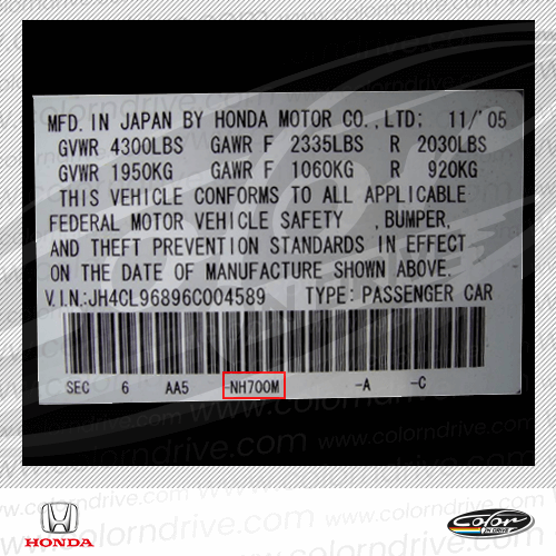 Honda Paint Code Label