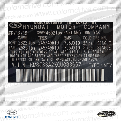 Hyundai Paint Code Label