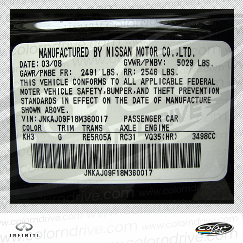 Infiniti Paint Code Label