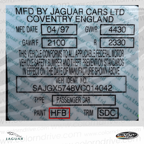 Jaguar Paint Code Label