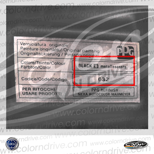 Lancia Paint Code Label