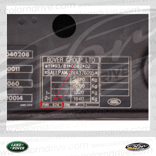 Land Rover Paint Code Label