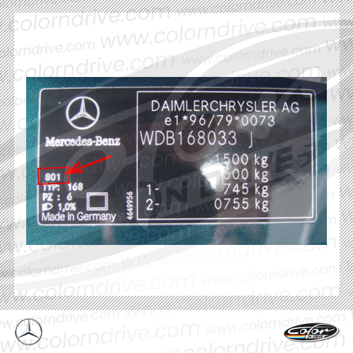 Mercedes Paint Code Label Sample