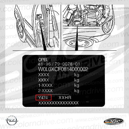 Opel Paint Code Label