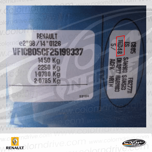 Renault Paint Code Label