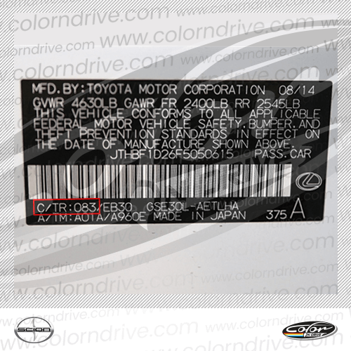 Scion Paint Code Label