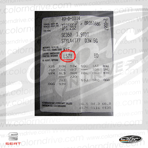 Seat Paint Code Label