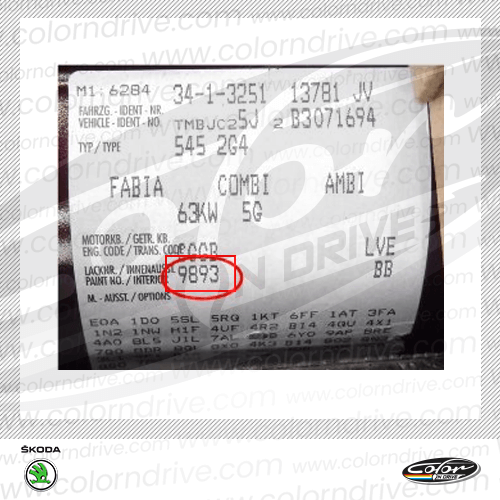 Skoda Paint Code Label