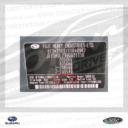 Subaru Paint Code Label Sample