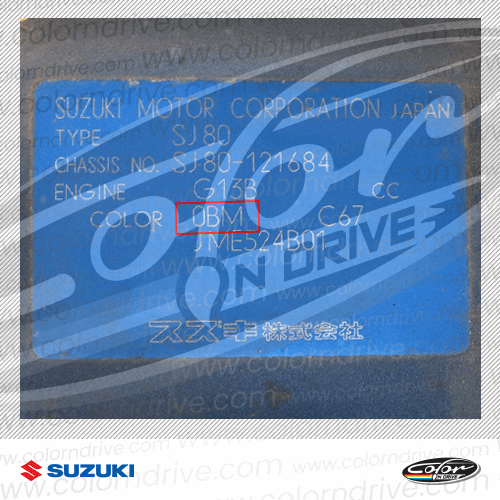Suzuki Paint Code Label