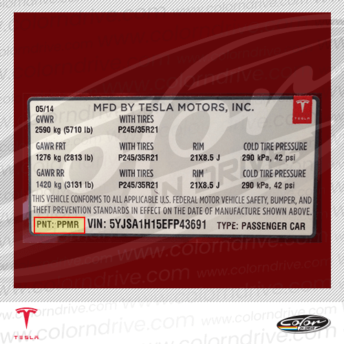 Tesla Paint Code Label