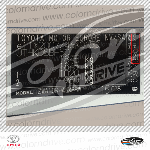 Toyota Paint Code Label