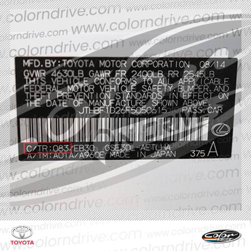 Toyota Paint Code Label Sample